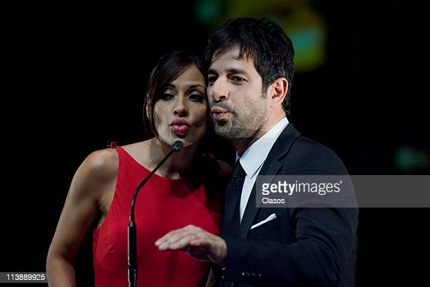 Elizabeth Cervantes and Miguel Rodarte attend to the ceremony of Ariel Awards 2011 at Bellas Artes on May 7 2011 in Mexico City Mexico