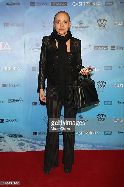Elizabeth Cervantes attends Casi Treinta Mexico City premiere red carpet at Cinemex Antara Polanco on August 19 2014 in Mexico City Mexico