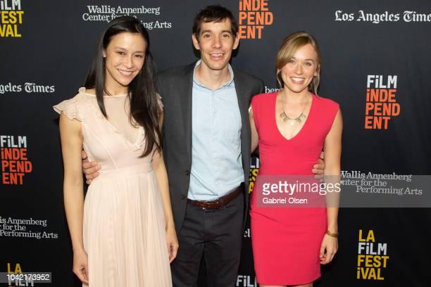 Elizabeth Chai Vasarhelyi Alex Honnold and Sanni McCandless arrive for the LA Film Festival gala screening of National Geographic Documentary Films...