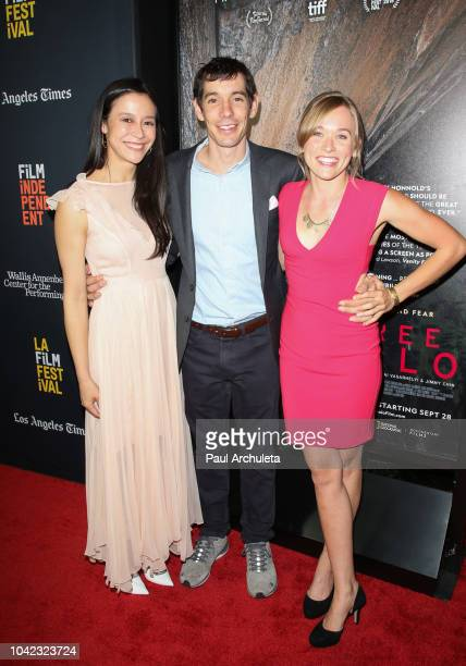 Elizabeth Chai Vasarhelyi Alex Honnold and Sanni McCandless attend the screening of 'Free Solo' at the 2018 LA Film Festival at the Wallis Annenberg...