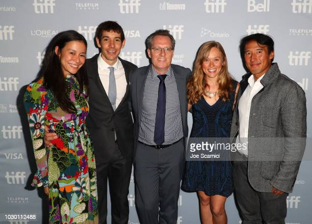 Elizabeth Chai Vasarhelyi Alex Honnold Thom Powers Sanni McCandless and Jimmy Chin at the 2018 Toronto Film Festival Premiere of National Geographic...