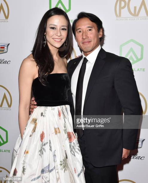 Elizabeth Chai Vasarhelyi and Jimmy Chin attend the 30th Annual Producers Guild Awards at The Beverly Hilton Hotel on January 19 2019 in Beverly...