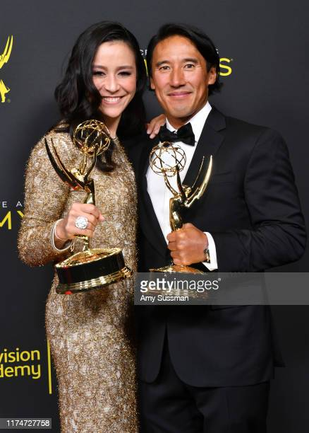 Elizabeth Chai Vasarhelyi and Jimmy Chin pose with the Outstanding Directing for a Documentary/Nonfiction Program Award for 'Free Solo' in the press...