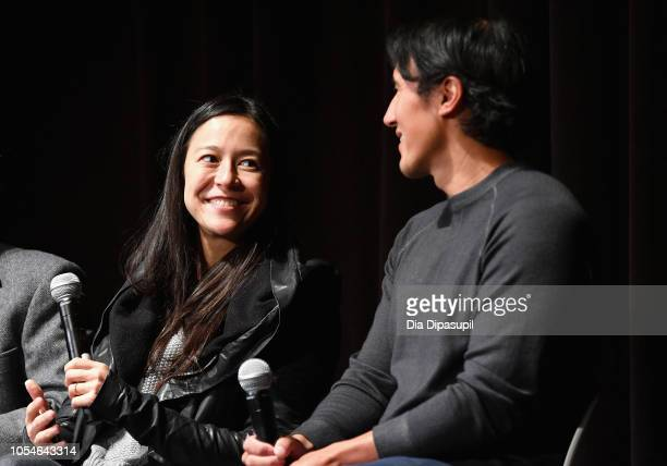 "Elizabeth Chai Vasarhelyi and Jimmy Chin speak onstage at the Docs to Watch ""Free Solo"" QA during the 21st SCAD Savannah Film Festival on October 28..."