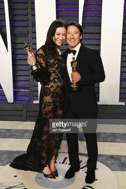 Elizabeth Chai Vasarhelyi and Jimmy Chin winners of Best Documentary Feature attend the 2019 Vanity Fair Oscar Party hosted by Radhika Jones at...