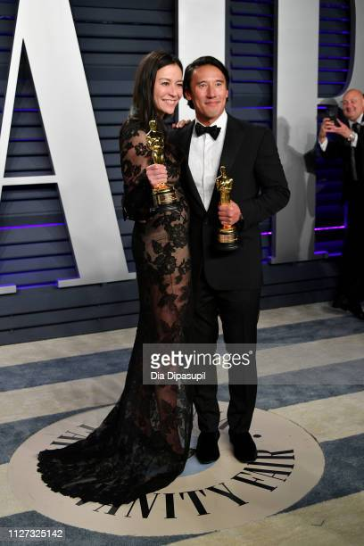 Elizabeth Chai Vasarhelyi and Jimmy Chin winners of Best Documentary Feature for 'Free Solo' attend the 2019 Vanity Fair Oscar Party hosted by...