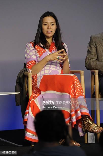 Elizabeth Chai Vasarhelyi attends Meet The Filmmaker Jimmy Chin and Elizabeth Chai Vasarhelyi MERU at Apple Store Soho on August 13 2015 in New York...