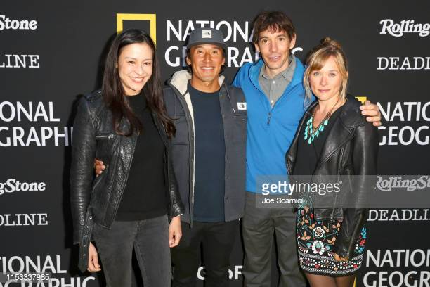 Elizabeth Chai Vasarhelyi Jimmy Chin Alex Honnold and Sanni McCandless attend National Geographic's Contenders Showcase at The Greek Theatre a...