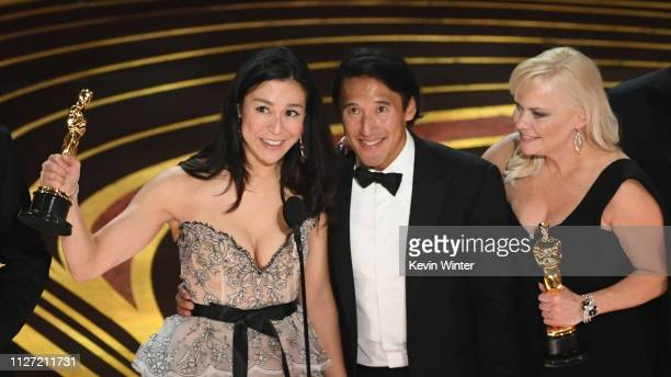 Elizabeth Chai Vasarhelyi Jimmy Chin and Shannon Dill accept the Documentary award for #39Free Solo#39 onstage during the 91st Annual Academy Awards...