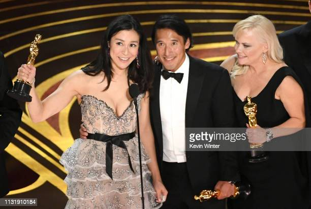 Elizabeth Chai Vasarhelyi Jimmy Chin and Shannon Dill accept the Documentary award for 'Free Solo' onstage during the 91st Annual Academy Awards at...