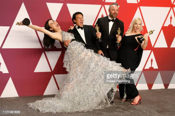 Elizabeth Chai Vasarhelyi Jimmy Chin Evan Hayes and Shannon Dill pose in the press room at the 91st Annual Academy Awards at the Dolby Theatre in...