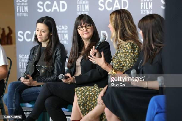 Elizabeth Chai Vasarhelyi Paula DuPrŽ Pesmen Amy Nauiokas and Shannon Gibson speak at the ÒWonder Women' Panel Producers Panel during the 21st SCAD...