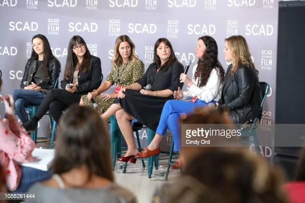Elizabeth Chai Vasarhelyi Paula DuPrŽ Pesmen Amy Nauiokas Shannon Gibson Lizzie Nastro and Kaila York speak at the ÒWonder Women' Panel Producers...