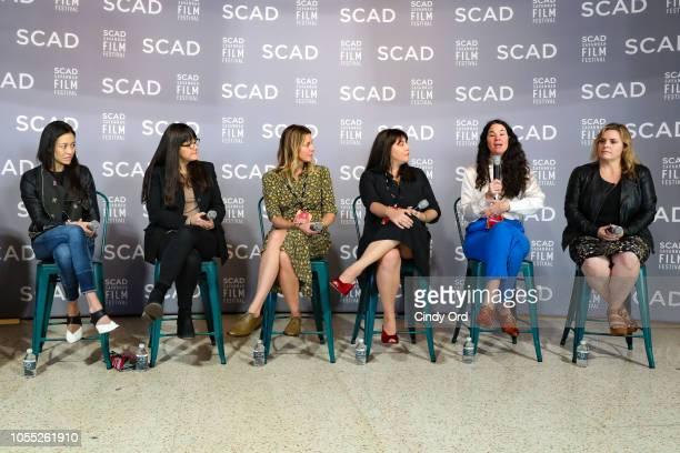 Elizabeth Chai Vasarhelyi Paula DuPrŽ Pesmen Amy Nauiokas Shannon Gibson Lizzie Nastro and Kaila York speak at the 'Wonder Women' Panel Producers...