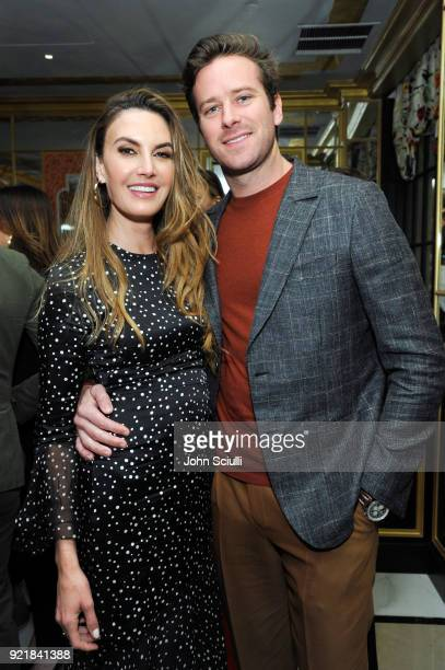 Elizabeth Chambers and Armie Hammer attend GQ and Oliver Peoples Celebrate Timothee Chalamet March Cover Dinner at Nomad Los Angeles on February 20...