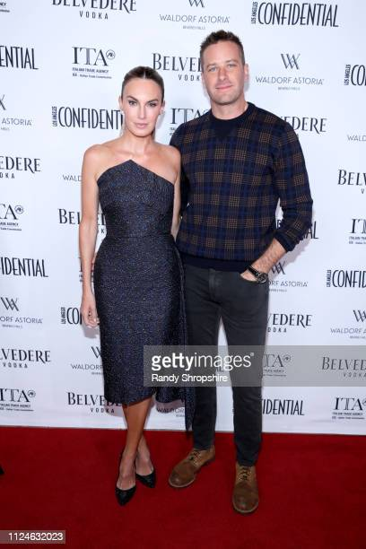 Elizabeth Chambers and Armie Hammer attend Los Angeles Confidential and Armie Hammer celebrate the annual awards issue with Belvedere Vodka on...