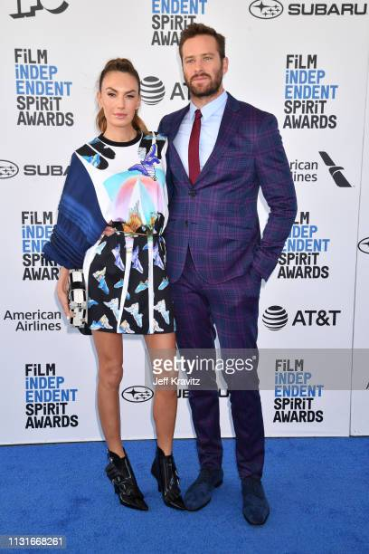 Elizabeth Chambers and Armie Hammer attend the 2019 Film Independent Spirit Awards on February 23 2019 in Santa Monica California