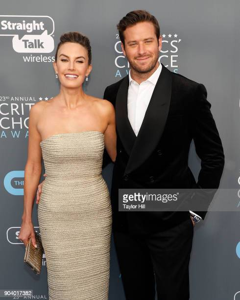 Elizabeth Chambers and Armie Hammer attend the 23rd Annual Critics' Choice Awards at Barker Hangar on January 11 2018 in Santa Monica California