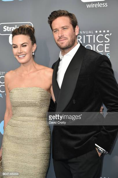 Elizabeth Chambers and Armie Hammer attend The 23rd Annual Critics' Choice Awards Arrivals at The Barker Hanger on January 11 2018 in Santa Monica...