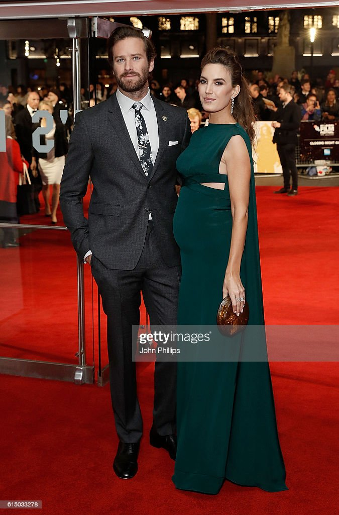 Elizabeth Chambers and Armie Hammer attend the 'Free Fire' Closing Night Gala screening during the 60th BFI London Film Festival at Odeon Leicester Square on October 16, 2016 in London, England.