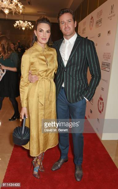 Elizabeth Chambers and Armie Hammer attend the London Film Critics' Circle Awards 2018 at The May Fair Hotel on January 28 2018 in London England