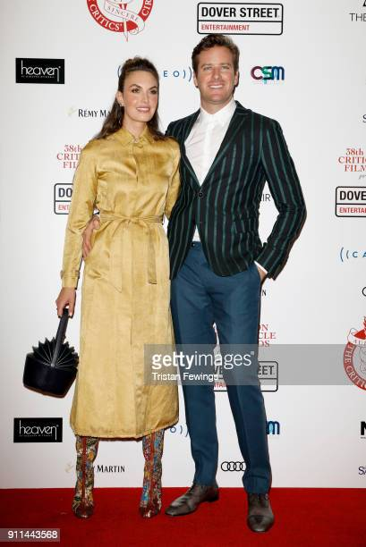 Elizabeth Chambers and Armie Hammer attend the London Film Critics Circle Awards 2018 at The Mayfair Hotel on January 28 2018 in London England