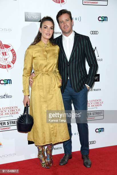 Elizabeth Chambers and Armie Hammer attend the London Film Critics Circle Awards 2018 at The May Fair Hotel on January 28 2018 in London England