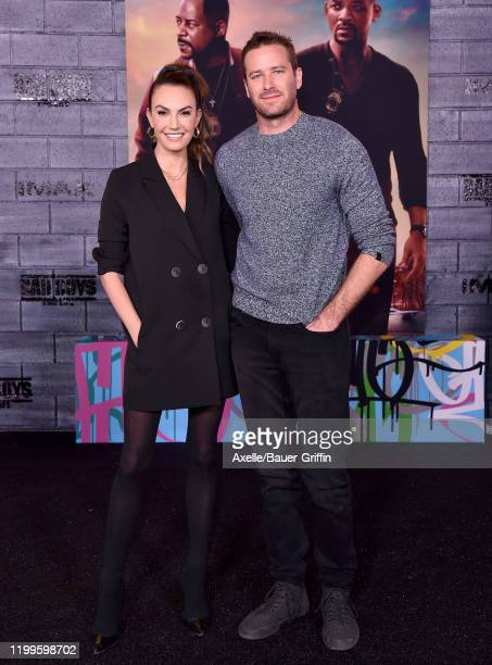 """Elizabeth Chambers and Armie Hammer attend the Premiere of Columbia Pictures' """"Bad Boys for Life"""" at TCL Chinese Theatre on January 14, 2020 in..."""