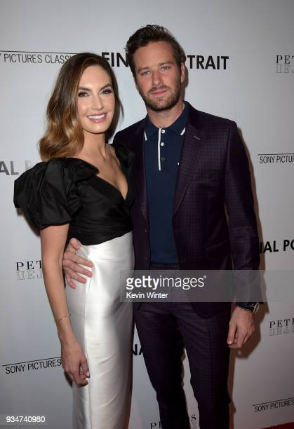 """Elizabeth Chambers and Armie Hammer attend the premiere of Sony Pictures Classics' """"Final Portrait"""" at Pacific Design Center on March 19, 2018 in..."""