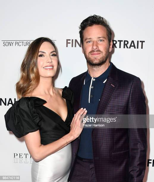 Elizabeth Chambers and Armie Hammer attend the premiere of Sony Pictures Classics' Final Portrait at Pacific Design Center on March 19 2018 in West...