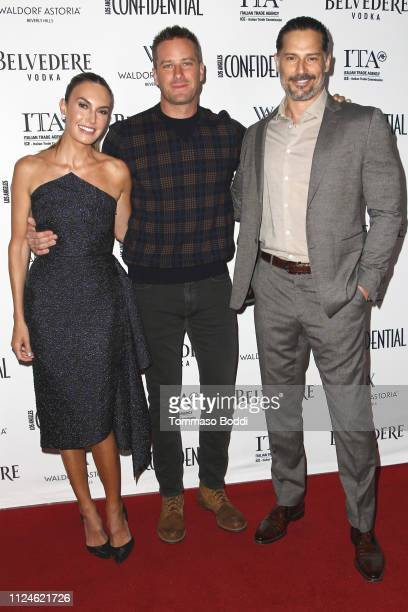Elizabeth Chambers Armie Hammer and Joe Manganiello attend the Los Angeles Confidential Awards Celebration at Waldorf Astoria Beverly Hills on...