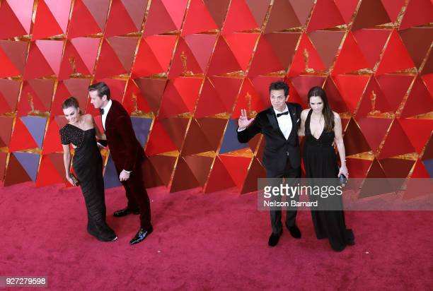 Elizabeth Chambers Armie Hammer Benjamin Bratt and Talisa Soto attend the 90th Annual Academy Awards at Hollywood Highland Center on March 4 2018 in...