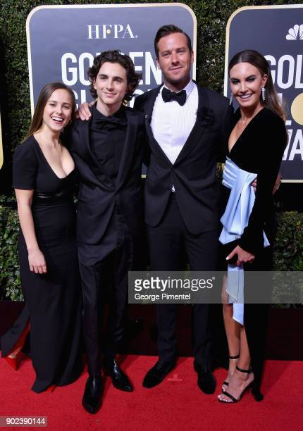 Elizabeth Chambers Armie Hammer Timothee Chalamet and guest attend The 75th Annual Golden Globe Awards at The Beverly Hilton Hotel on January 7 2018...