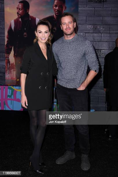 Elizabeth Chambers Hammer and Armie Hammer attend the premiere of Columbia Pictures' Bad Boys For Life at TCL Chinese Theatre on January 14 2020 in...