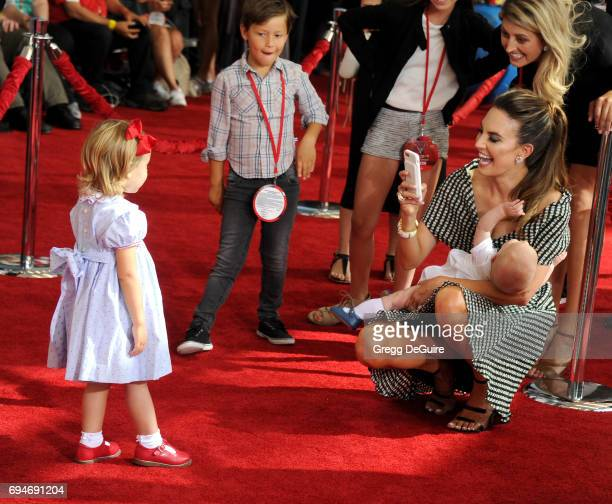 Elizabeth Chambers Hammer daughter Harper Grace Hammer and son Ford Douglas Armand Hammer arrive at the premiere of Disney And Pixar's 'Cars 3' at...