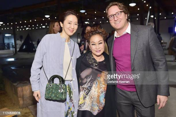 Elizabeth Chung Mickey Lee and Graham Steele attend Hauser Wirth Los Angeles Opening of Annie Leibovitz and Piero Manzoni and Musical Performance by...