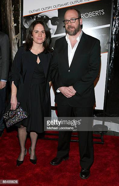 Elizabeth Cohen and actor Paul Giamatti attend the New York premiere of Duplicity at Clearview Cinema's Ziegfeld Theater on March 16 2009 in New York...