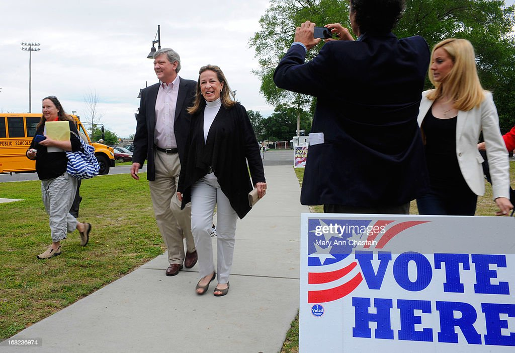 Elizabeth Colbert Busch arrives at her polling place to cast her vote in a special election runoff with former South Carolina Gov. Mark Sanford for a seat in the 1st Congressional District May 7, 2013 in Charleston, South Carolina. Voters are deciding between Sanford, a Republican seeking a political comeback after an extramarital affair and Busch, a Democratic businesswoman and the sister of comedian of Stephen Colbert.