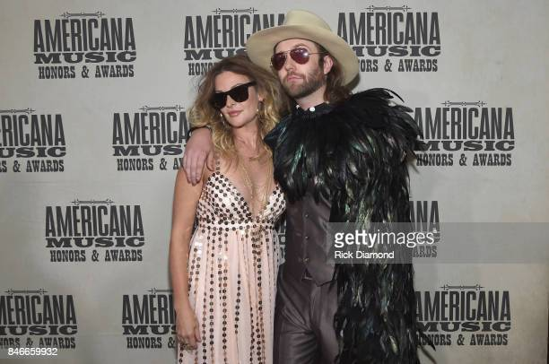 Elizabeth Cook and Aaron Lee Tasjan attend the 2017 Americana Music Association Honors Awards on September 13 2017 in Nashville Tennessee