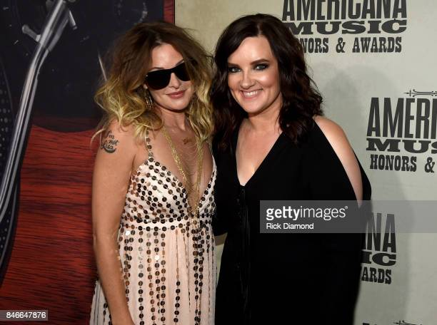 Elizabeth Cook and Brandy Clark attend the 2017 Americana Music Association Honors Awards on September 13 2017 in Nashville Tennessee