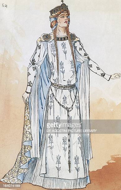 Elizabeth costume sketch created by Charles Bianchini for Act II of Tannhauser by Richard Wagner staged at the Palais Garnier in Paris May 13 1895...