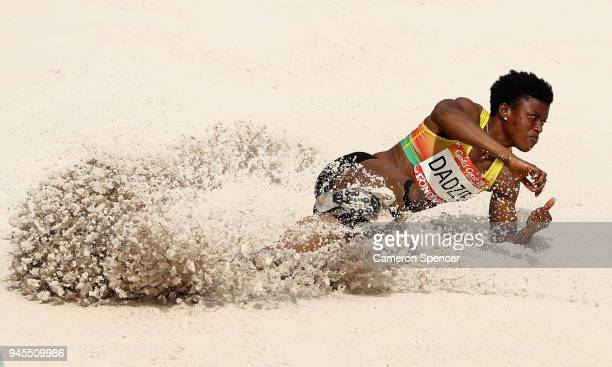 Elizabeth Dadzie of Ghana competes in the Women's Heptathlon Long Jump during athletics on day nine of the Gold Coast 2018 Commonwealth Games at...
