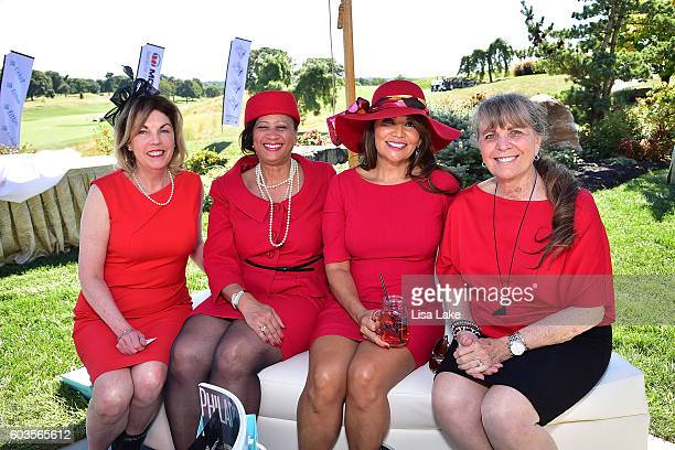 Elizabeth Dale Dr Joi C Spraggins Yvette Sigala and Sharon Elder attend the Dorys Erving Wine Chocolate Cheese Pairings during the Julius Erving Golf...
