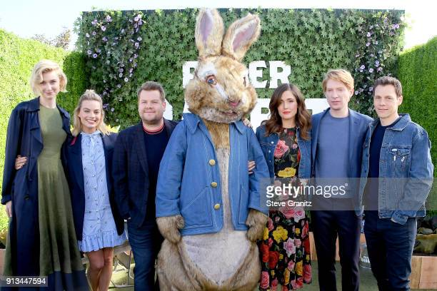 Elizabeth Debicki Margot Robbie James Corden Rose Byrne Domhnall Gleeson and Will Gluck attend the photo call for Columbia Pictures' 'Peter Rabbit'...