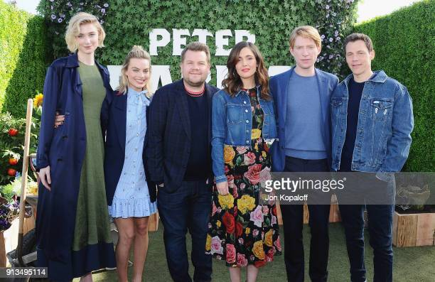 Elizabeth Debicki, Margot Robbie, James Corden, Rose Byrne, Domhnall Gleeson and director Will Gluck attend the photo call for Columbia Pictures'...