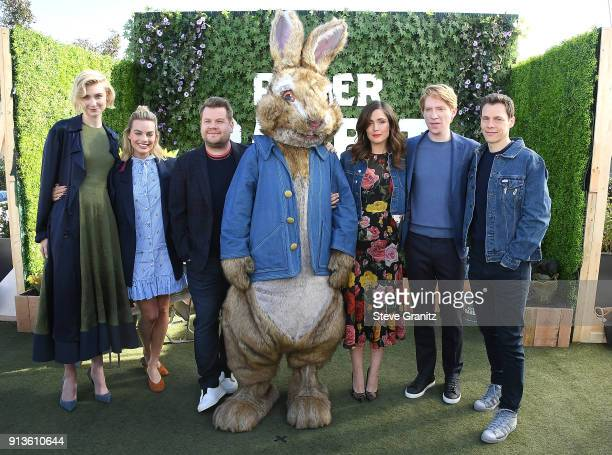 Elizabeth Debicki Margot Robbie James Corden Rose Byrne Domhnall Gleeson Will Gluck poses at the Photo Call For Columbia Pictures' 'Peter Rabbit' at...
