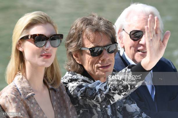 Elizabeth Debicki Mick Jagger and Donald Sutherland are seen arriving at the 76th Venice Film Festival on September 07 2019 in Venice Italy
