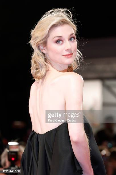 Elizabeth Debicki photographed on the red carpet for the screening of 'The Burnt Orange Heresy' during the 76th Venice Film Festival on September 7...