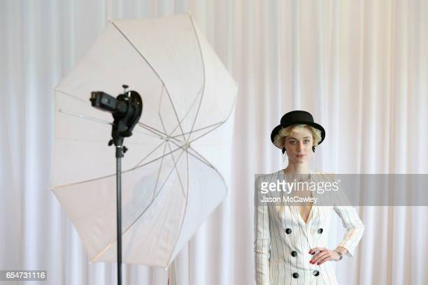 Elizabeth Debicki poses during Golden Slipper Day at Rosehill Gardens on March 18, 2017 in Sydney, Australia.