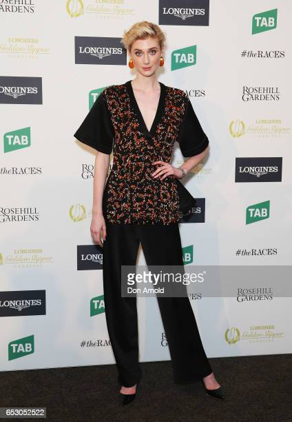 Elizabeth Debicki poses during the 2017 Longines Golden Slipper Barrier Draw Media Call at Rosehill Gardens on March 14 2017 in Sydney Australia